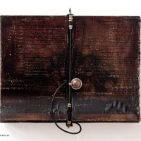 """Kim Bruce- Untilted, Encaustic, mixed media, found objects, 11""""w"""
